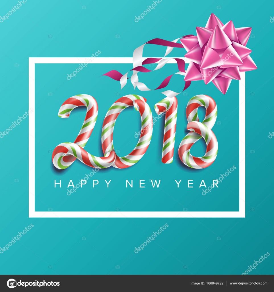 2018 año nuevo cartel Vector. Arco realista. Navidad felicitación ...