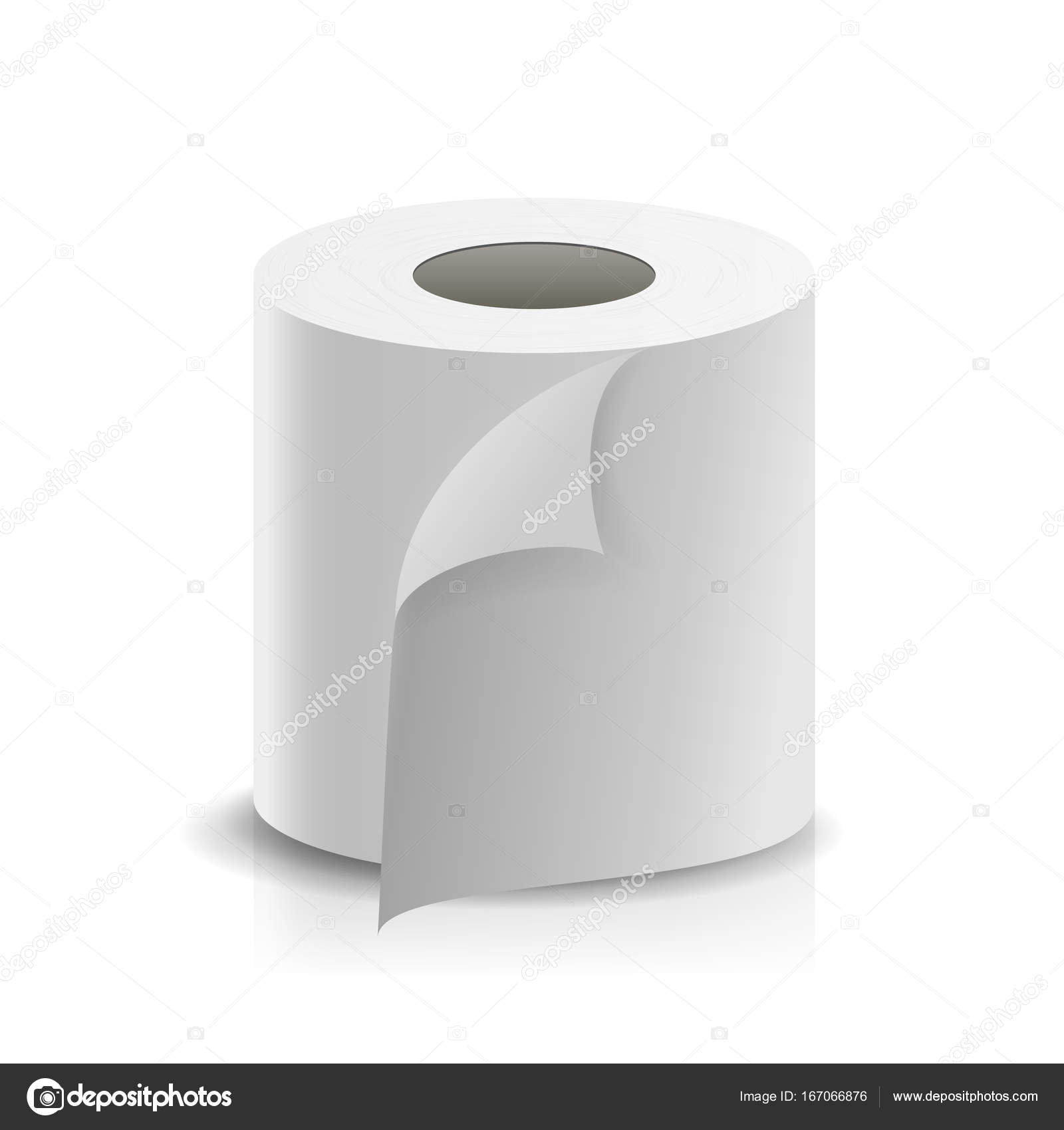 realistic paper roll vector template blank white toilet paper roll