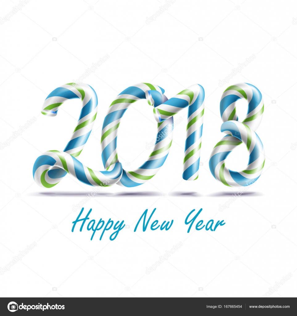 Vectores de feliz año nuevo 2018. 3D signo de número en colores de ...