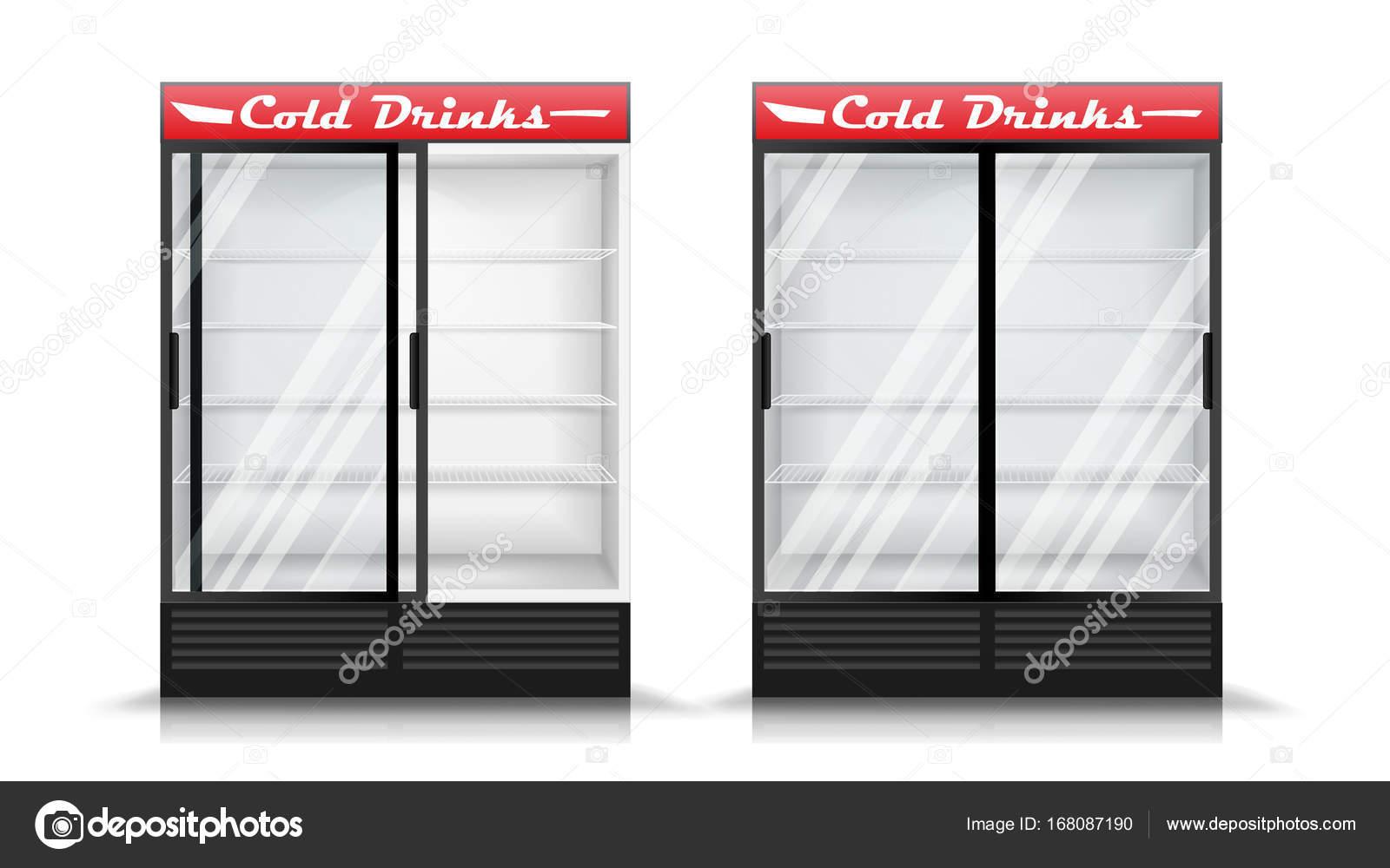 Kühlschrank Realistische Vektor. Moderne Vertikale Kühlschrank.  Frontplatte. Zwei Glas Schiebetüren. Isolierte
