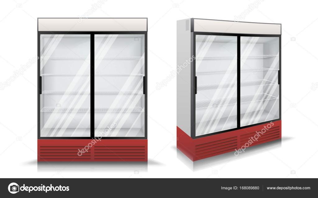 k hlschrank vektor k hlschrank mit zwei schiebet ren aus glas isolierte illustration. Black Bedroom Furniture Sets. Home Design Ideas