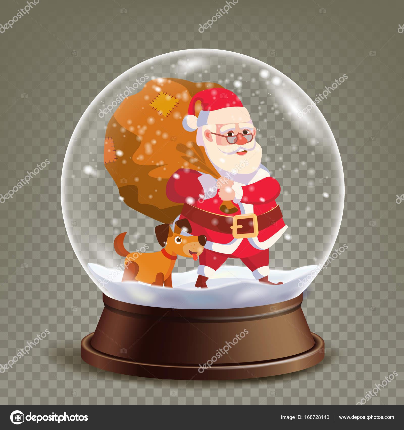 Christmas Snow Globe realistische Vektor. Süßer Weihnachtsmann mit ...