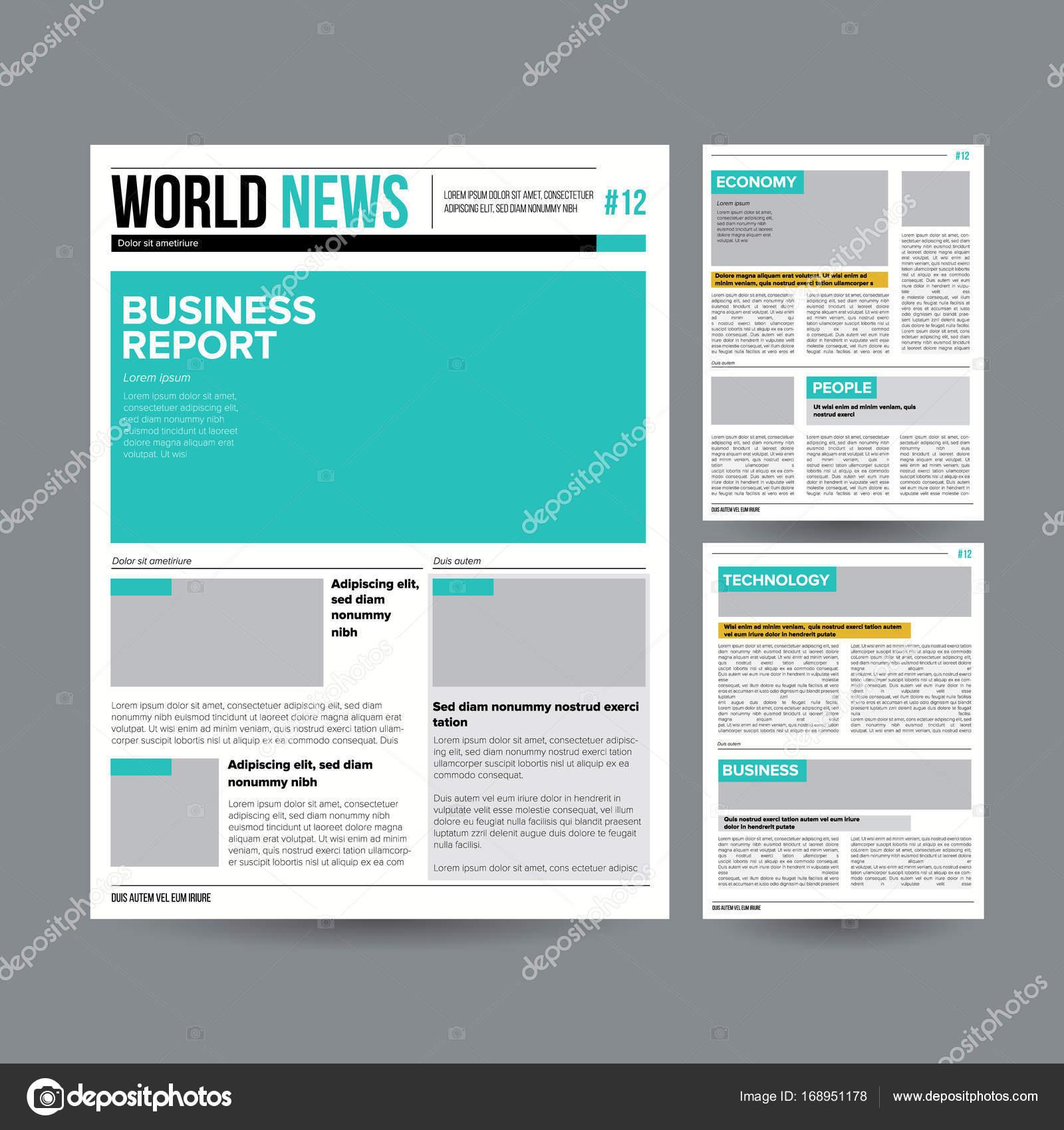 Newspaper Design Template Vector. Modern Newspaper Layout Template.  Financial Articles, Business Information.