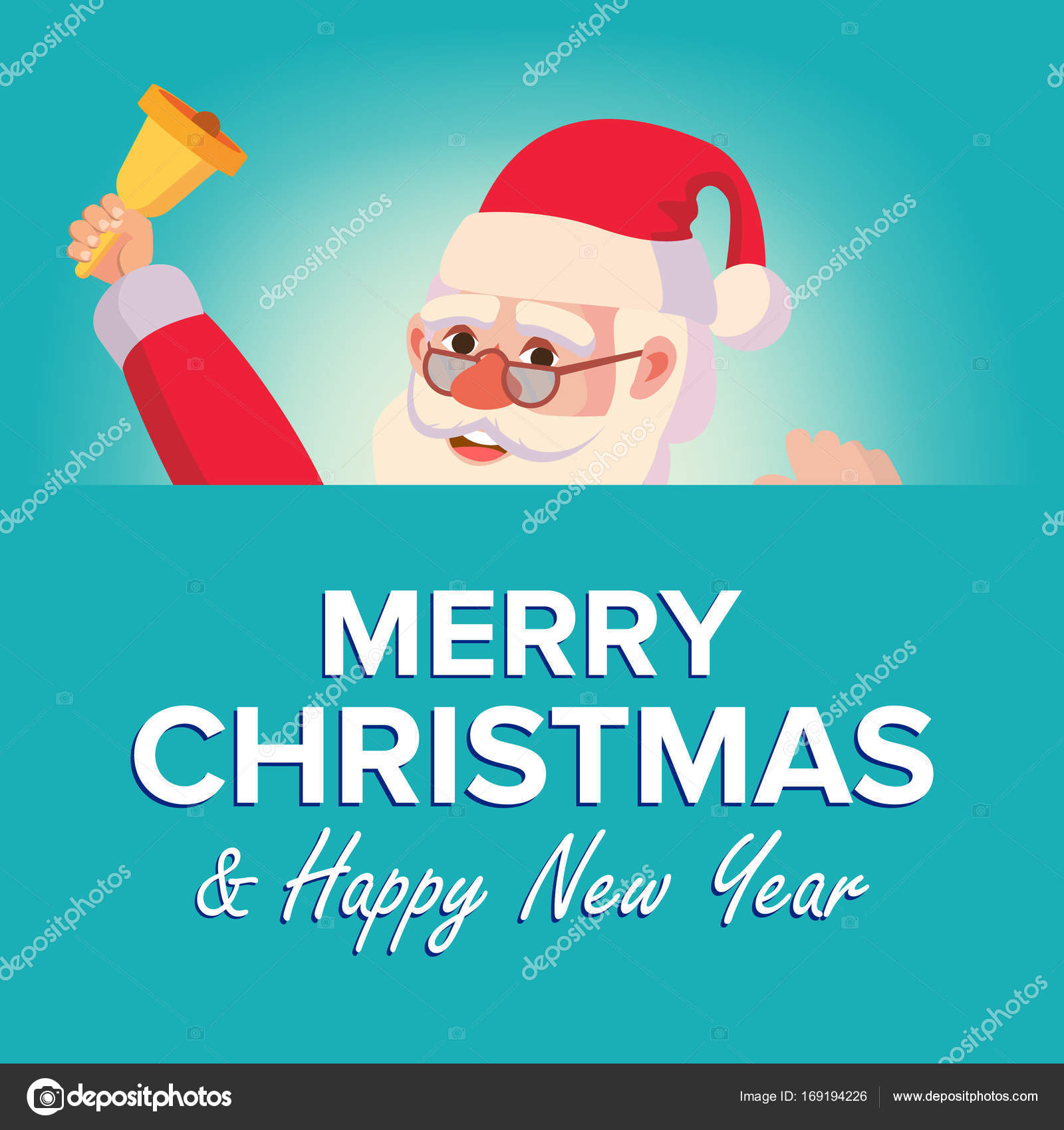 Merry Christmas Santa Claus Greeting Card Vector. Poster, Banner ...