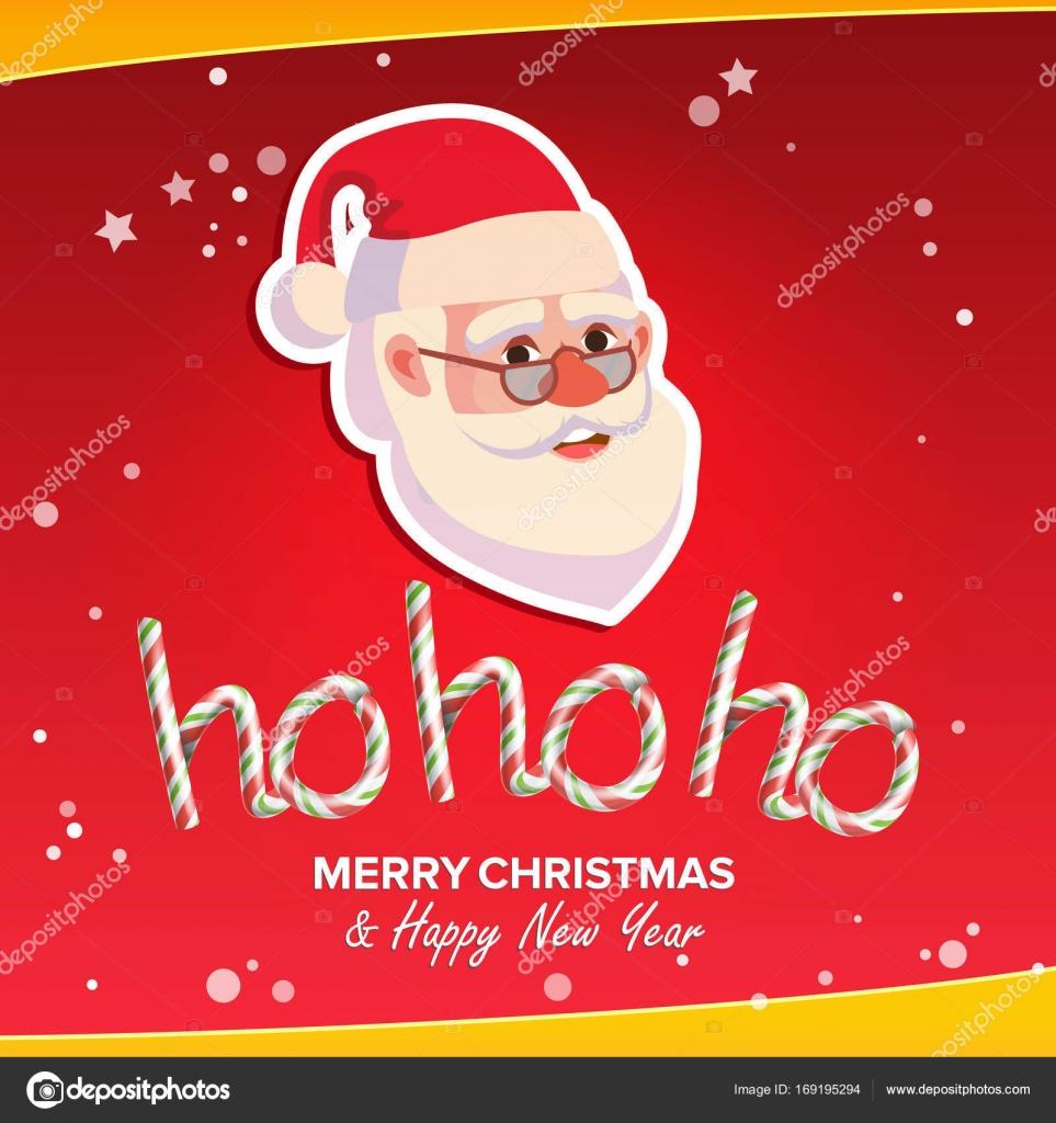 Babbo Natale Ho Ho Ho.Ho Ho Ho Frase Segno Vettoriale Buon Natale Saluto Sfondo Rosso