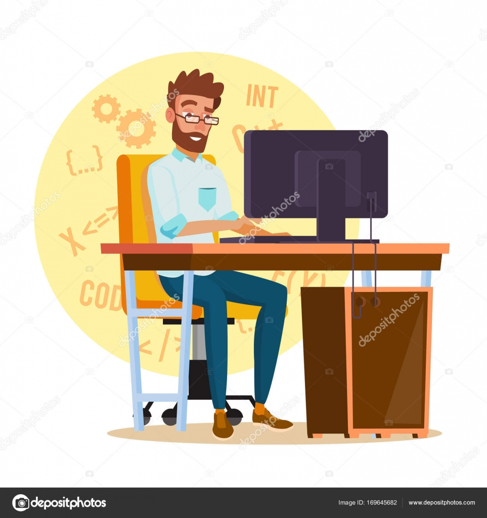 Programmer Man Vector Stylized Young Developer Person Working On