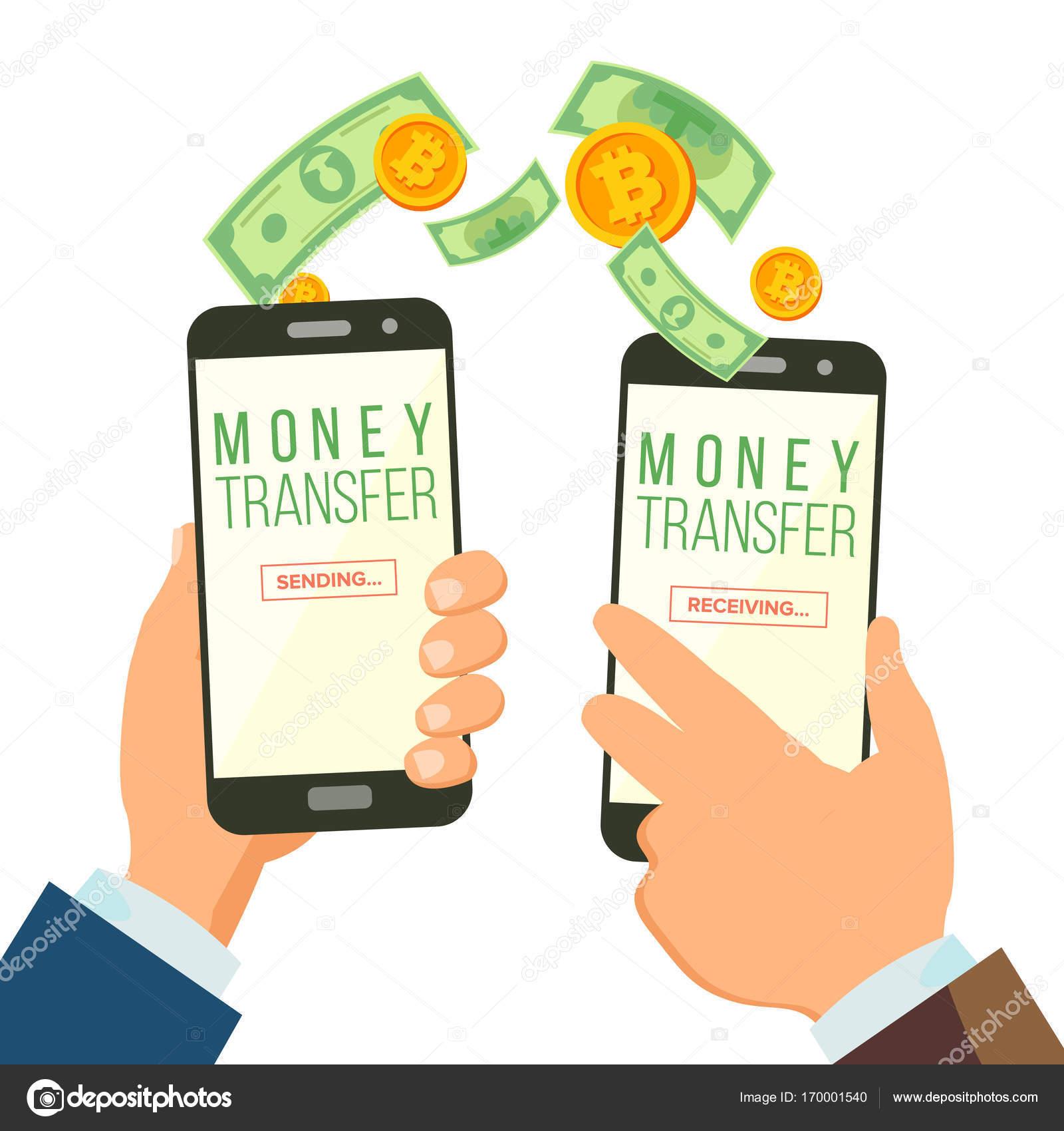 Mobile Money Banking Konzept Vektor Zu Ubertragen Hand Mit -