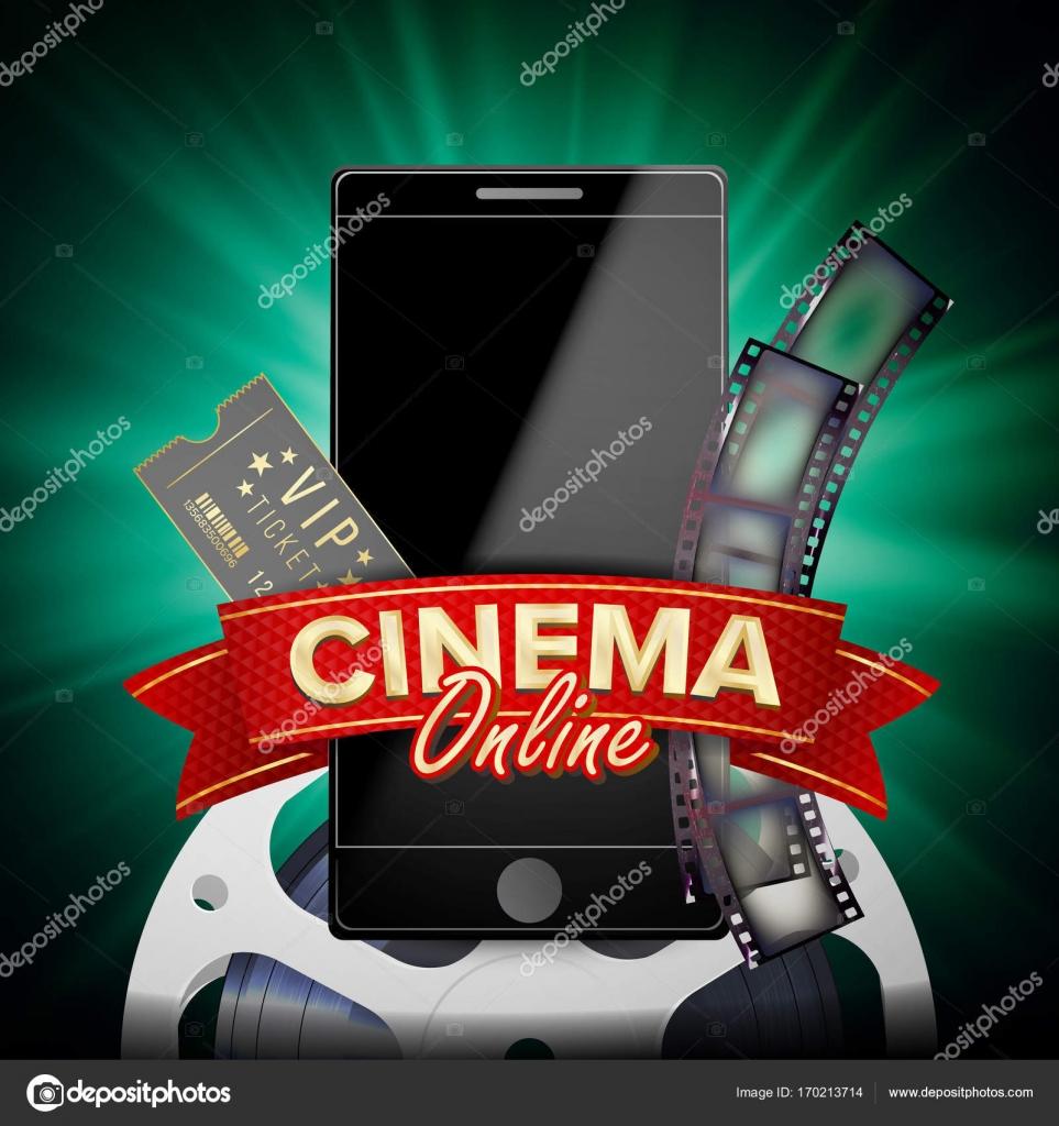 Online Cinema Poster Vector Modern Mobile Smart Phone Concept Good For Flyer Banner Marketing On Social Network Movie Reel Clapper Board