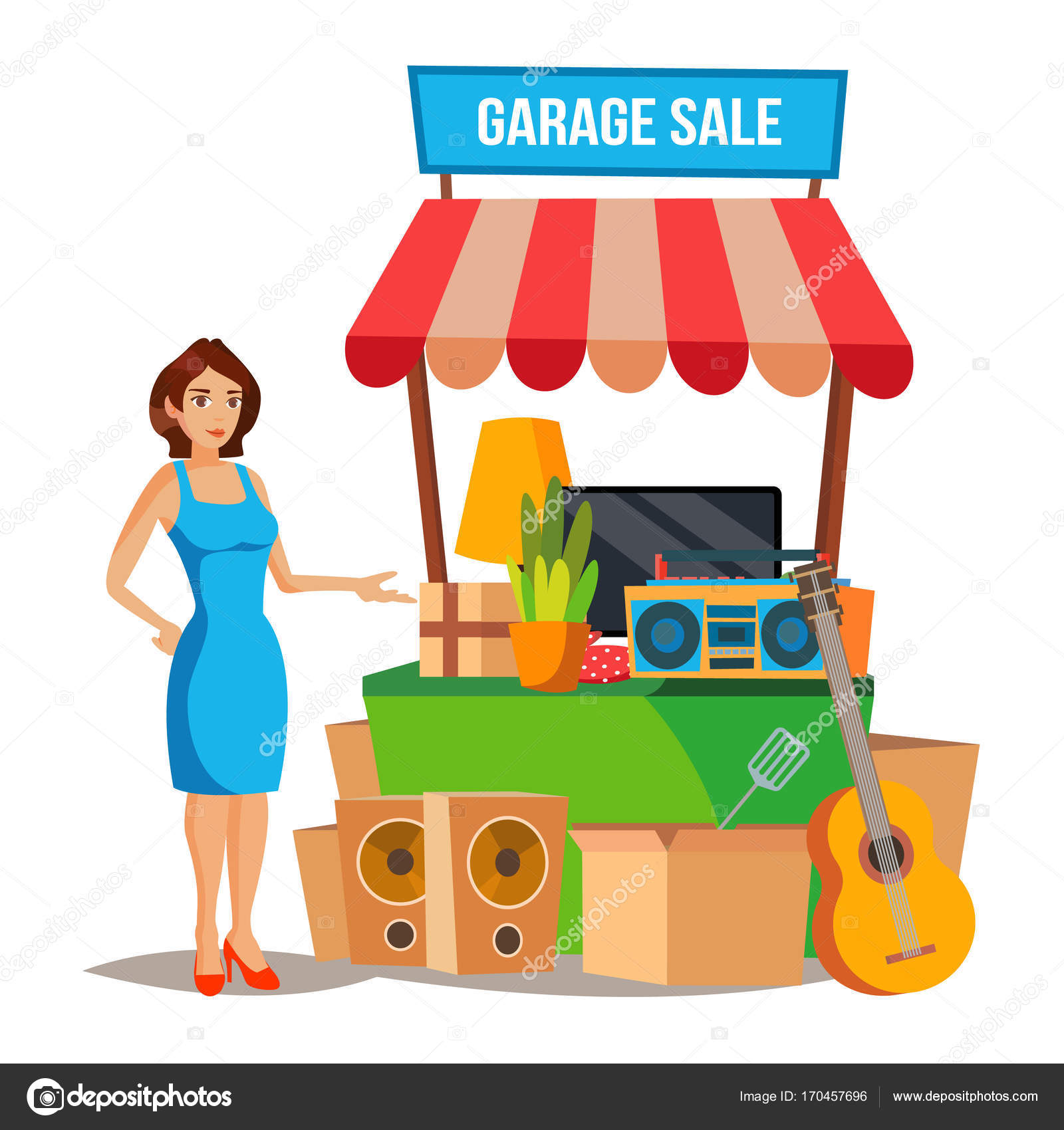 Yard Sale Vector. Household Items Sale. Woman Manning a