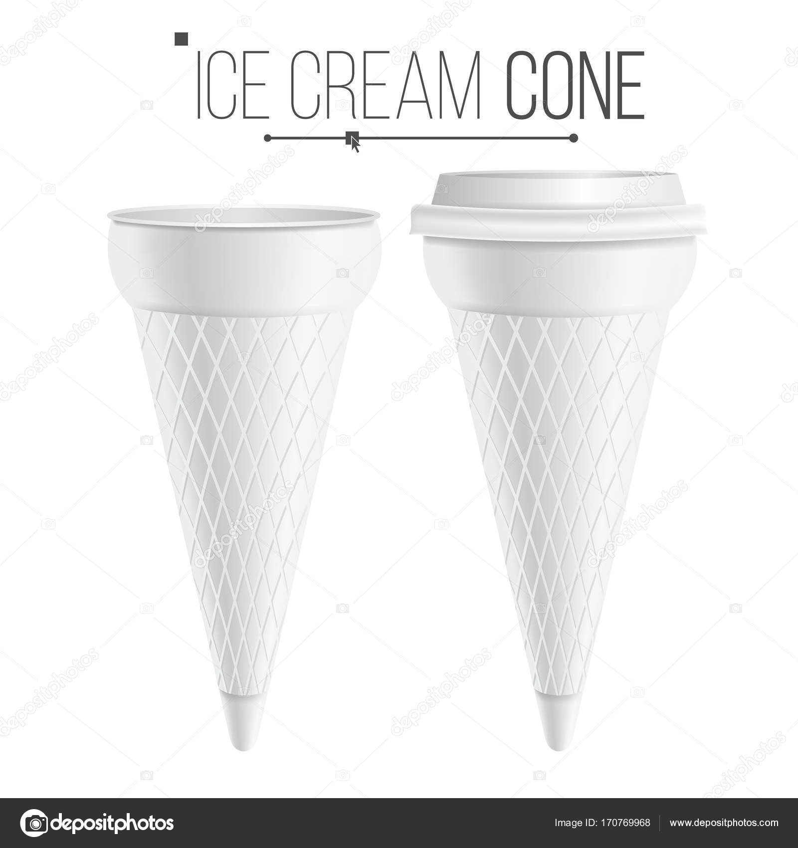 ice cream cone template vector for dessert yogurt plastic or