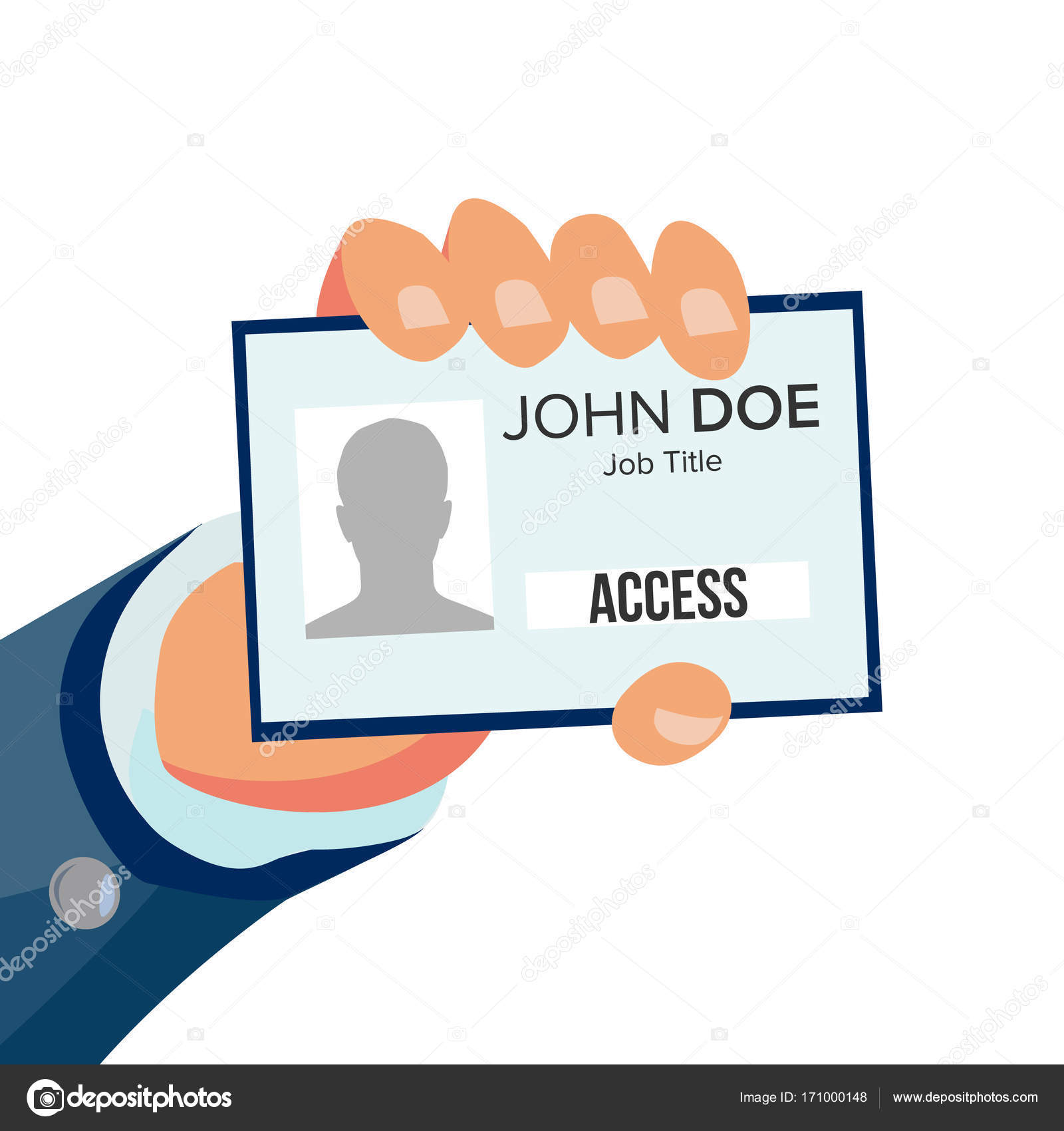 Hand Holding Id Card Vector. Identity Card With Photo And Job ...