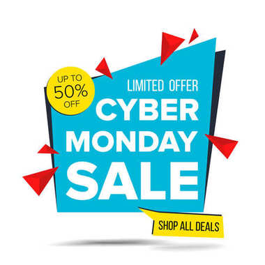 Cyber Monday Sale Banner Vector. Discount Up To 50 Off. Discount Tag, Special Monday Offer Banner. Good Deal Promotion. Isolated On White Illustration