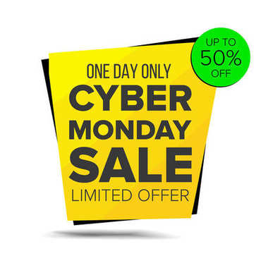 Cyber Monday Sale Banner Vector. Up To 50 Percent Off Monday Badge. Crazy Sale Poster. November Crazy Discounts Poster. Isolated Illustration