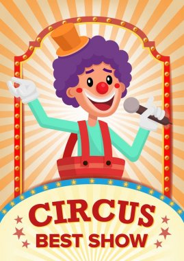 Circus Clown Show Poster Blank Vector. Vintage Magic Show. Fantastic Clown Performance. Holidays And Events. Illustration