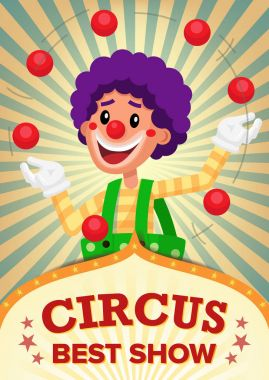 Circus Clown Show Poster Template Vector. Party Amusement Park. For Your Advertising. Illustration