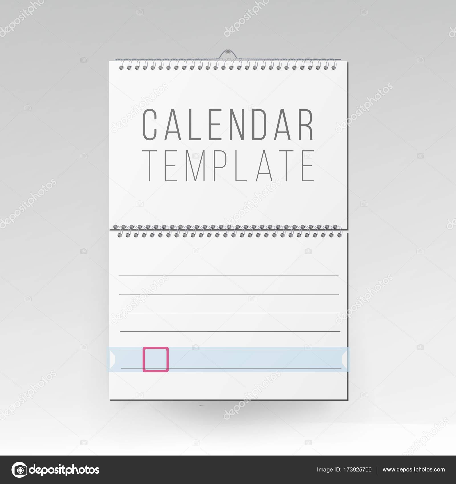 Spiral Calendar Vector Blank Office Calendar Mock Up Realistic