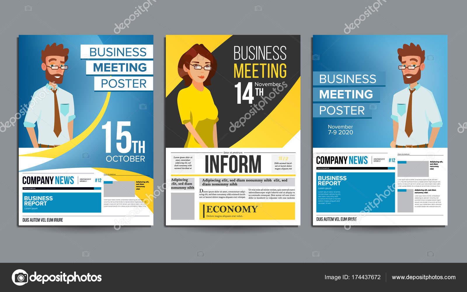 Business-Meeting Poster Set Vector. Geschäftsmann und Geschäftsfrau ...