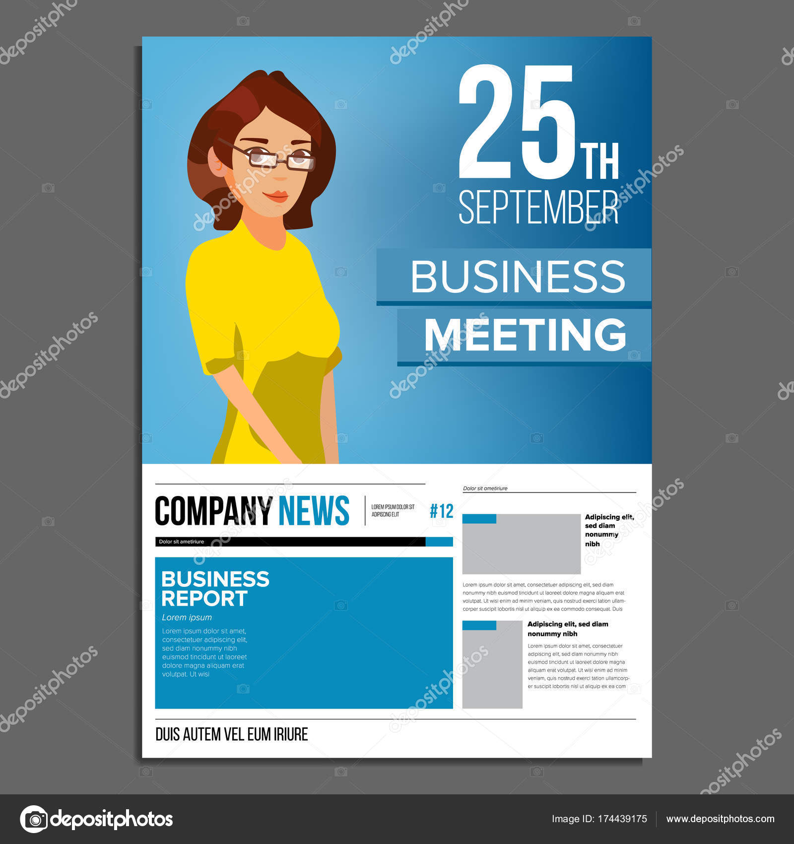 Business Meeting Poster Vektor. Business-Frau. Einladung und Datum ...