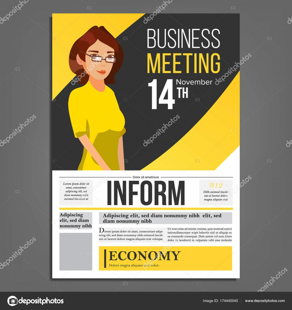 Business meeting poster vector business woman layout presentation business meeting poster vector business woman invitation and date conference template a4 size cover annual report flat cartoon illustration vector stopboris Image collections