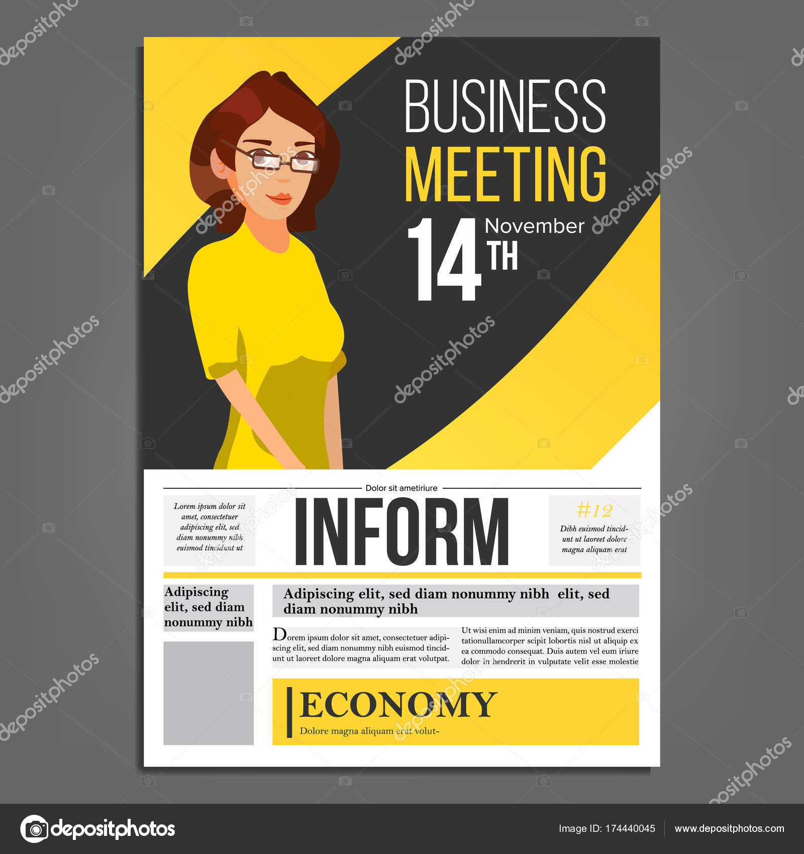 Business Meeting Poster Vektor. Business-Frau. Layout. Präsentations ...