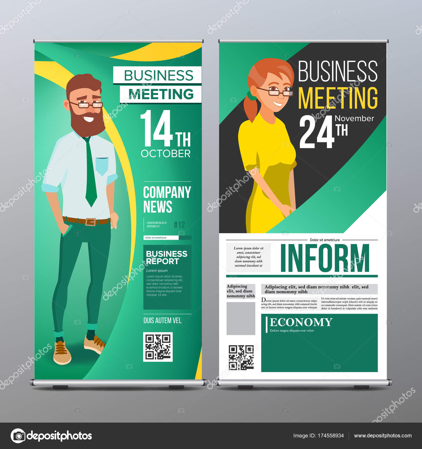 Roll up stand vector vertical flag blank design businessman and roll up stand vector vertical flag blank design businessman and business woman for stopboris Image collections