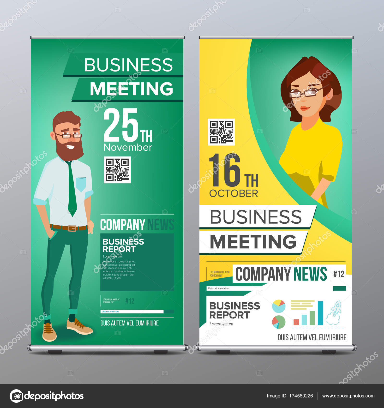 Roll up display vector vertical poster template layout businessman businessman and business woman for business conference invitation concept green yellow modern flat illustration vector by pikepicture stopboris Image collections