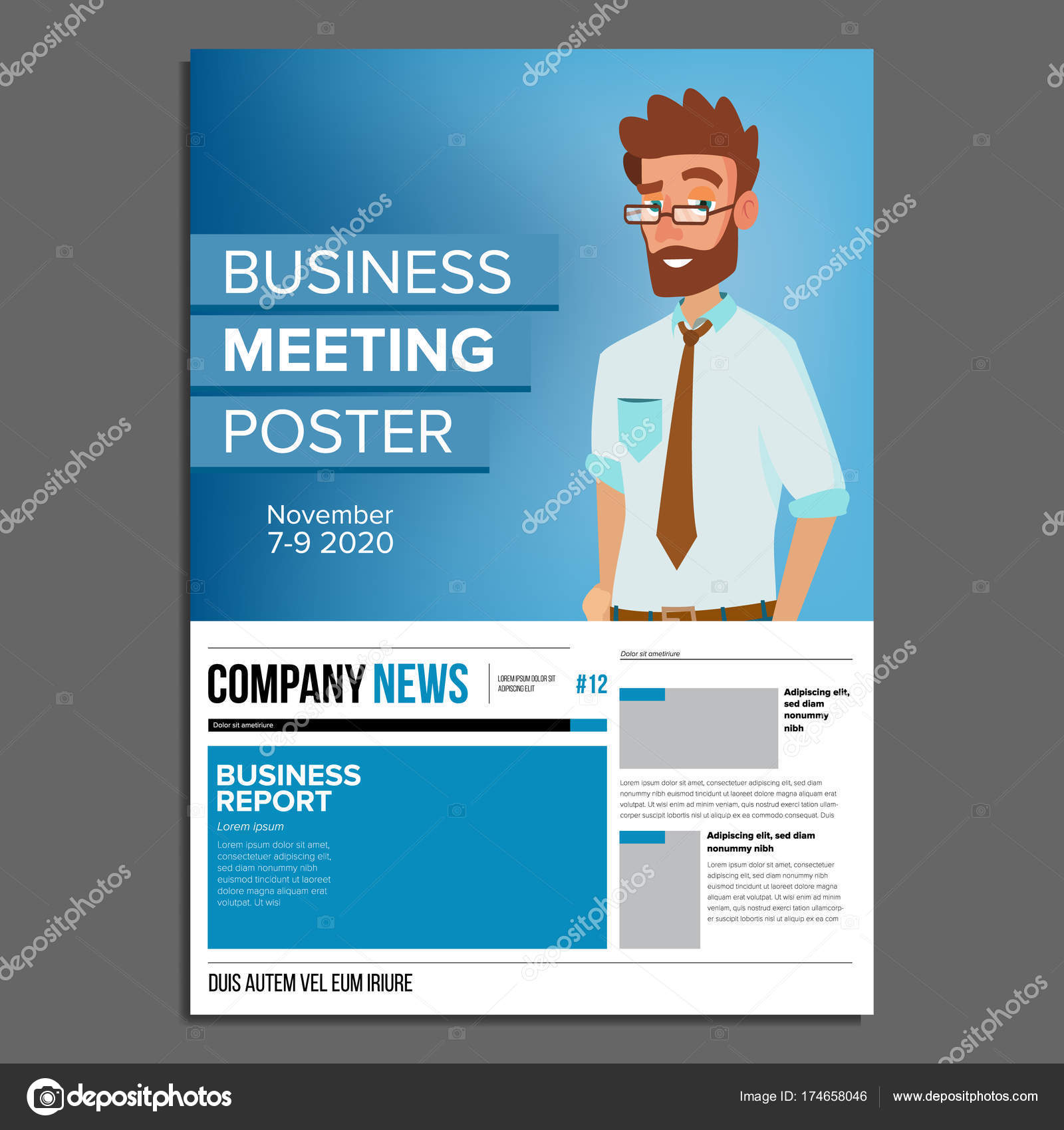 Business meeting poster vector businessman invitation and date business meeting poster vector businessman invitation and date conference template a4 size stopboris Image collections