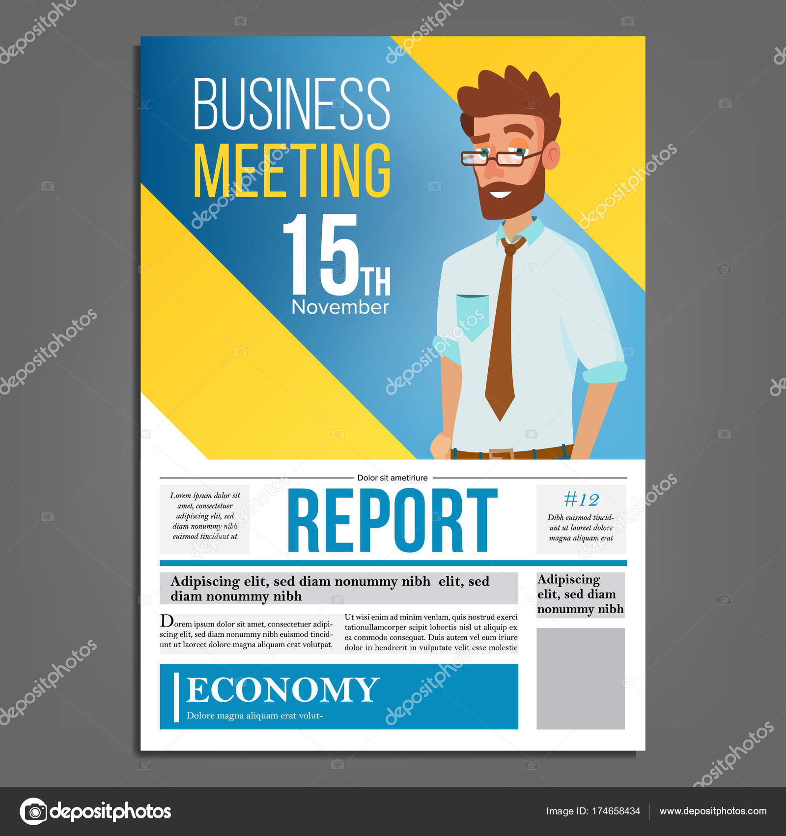 Business meeting poster vector businessman layout template business meeting poster vector businessman invitation and date conference template a4 size cover annual report flat cartoon illustration vector by stopboris Image collections