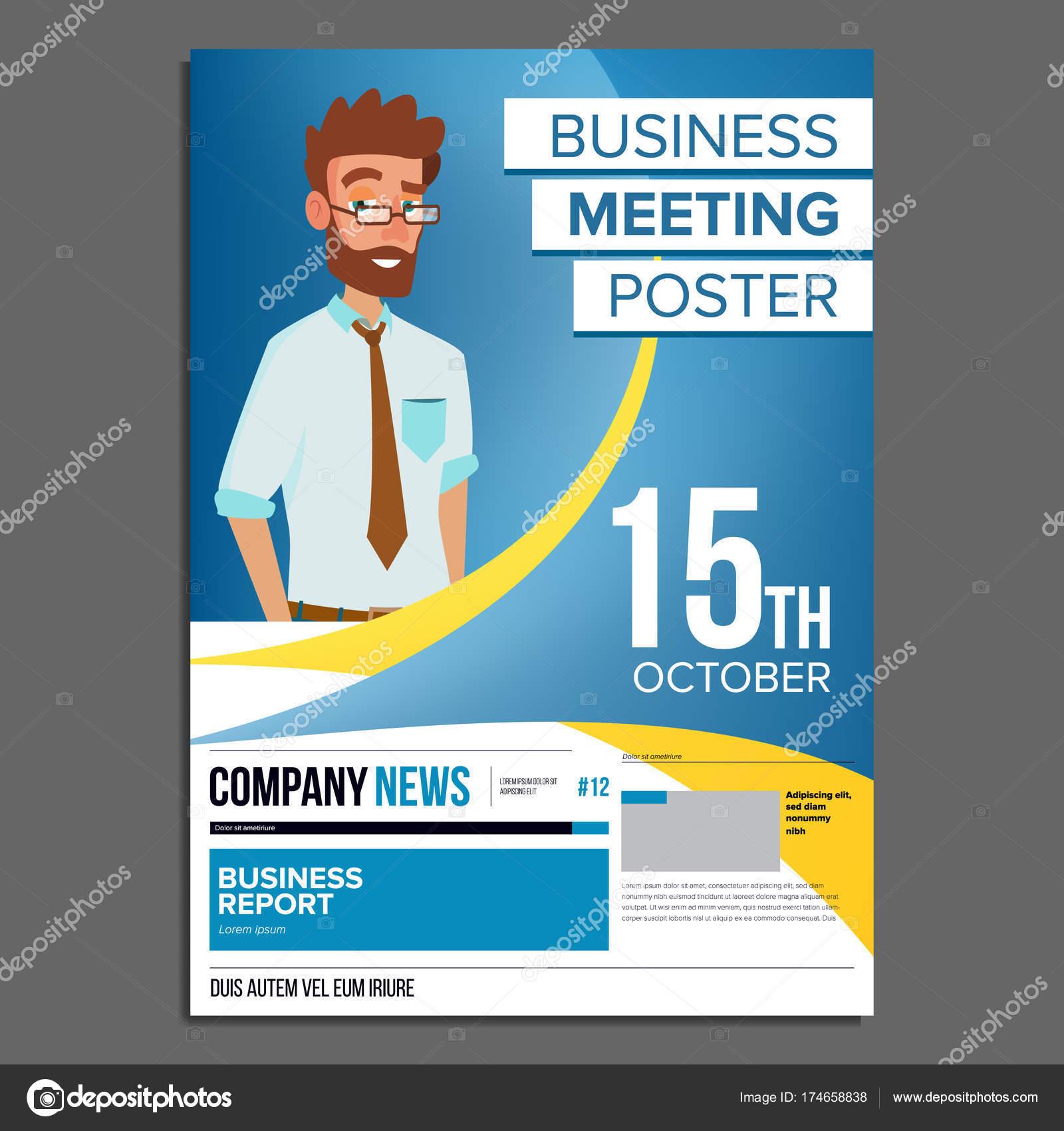 Business Meeting Poster Vektor. Geschäftsmann. Einladung zur ...