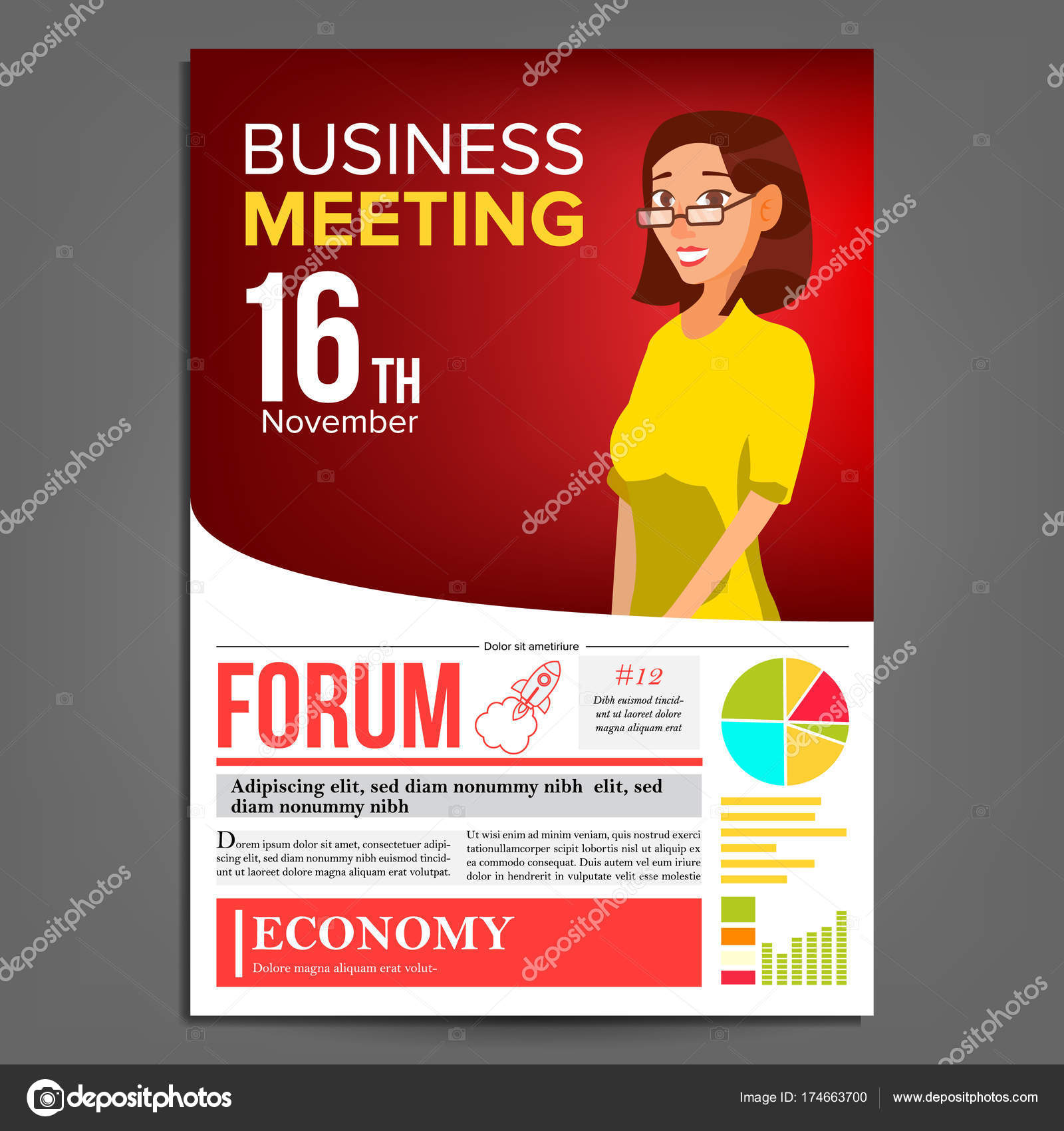 Business meeting poster vector business woman layout presentation business meeting poster vector business woman invitation and date conference template a4 size red yellow cover annual report conference room stopboris Image collections