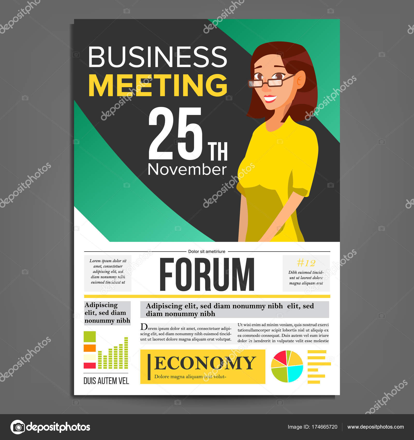 Business meeting poster vector business woman invitation and date business meeting poster vector business woman invitation and date conference template a4 stopboris Image collections