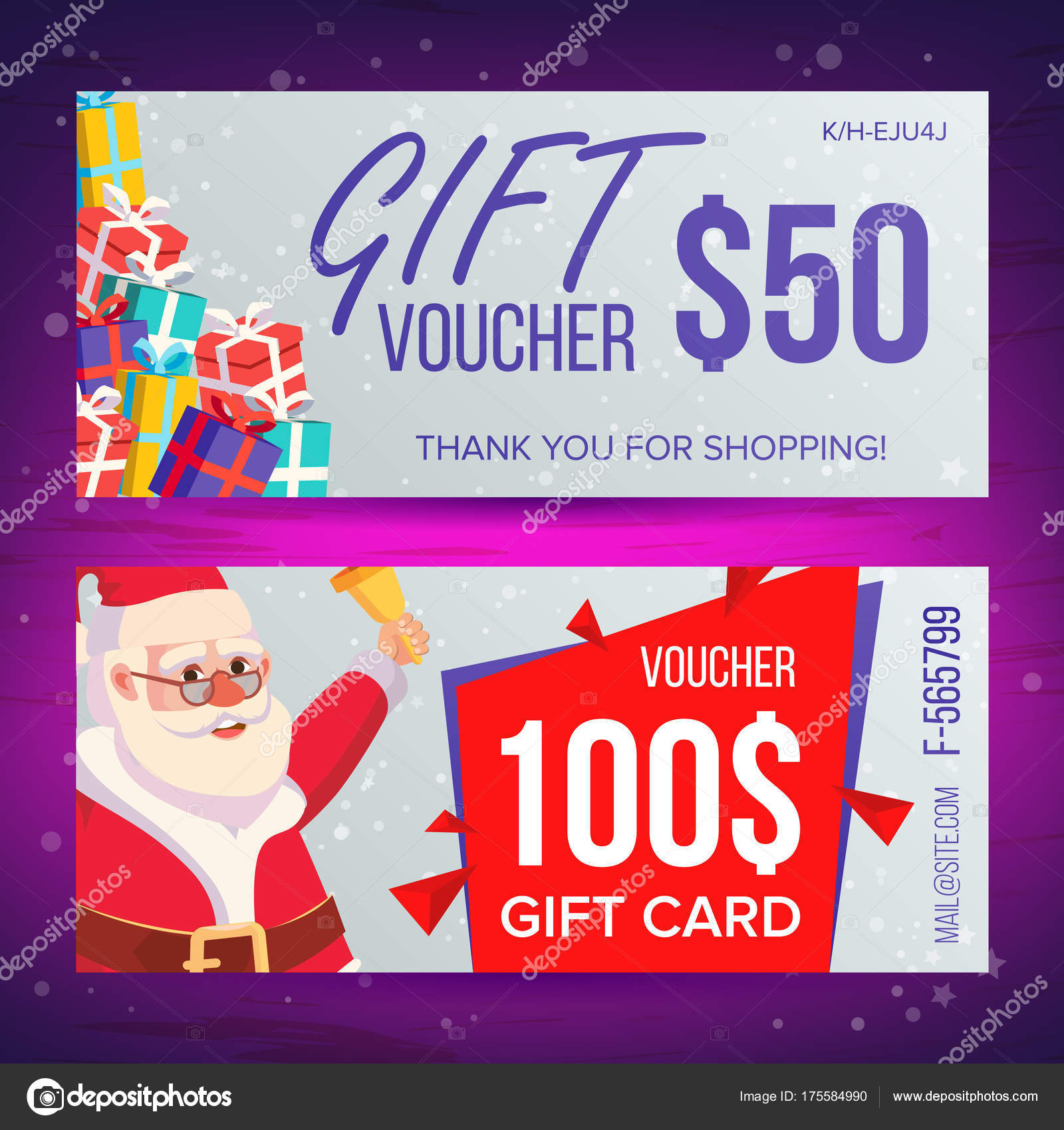 Christmas Voucher Template Vector. Horizontal Card. Happy New Year ...