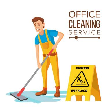 Professional Office Cleaner Vector. Janitor With Cleaning Equipment. Flat Cartoon Illustration