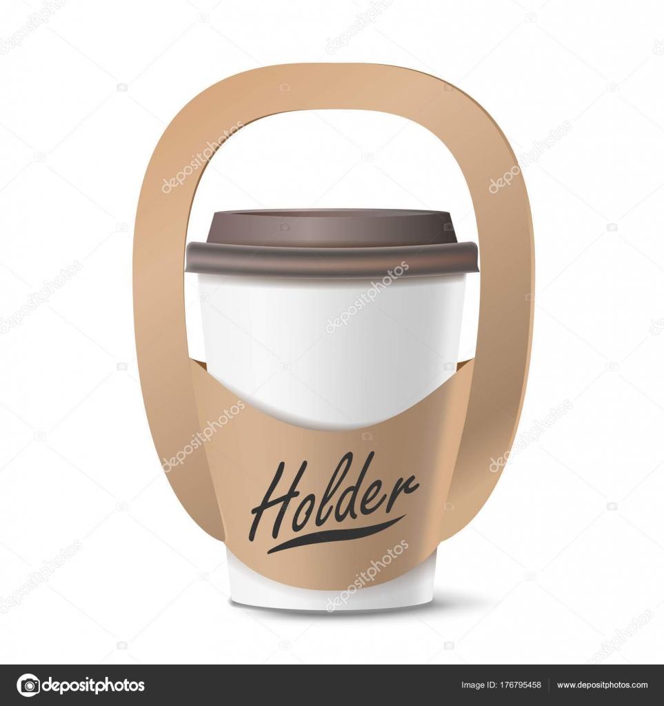 Kaffee-Obertasse Halter Vektor. Realistische Nachbildung. Leere ...