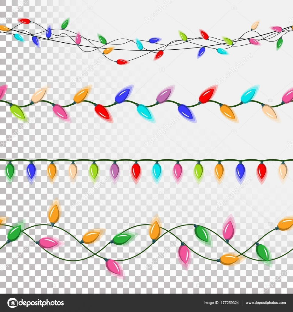 Christmas Lights Decorations Vector Flat Set Strings Of Mini Isolated On Transparent Background Illustration By