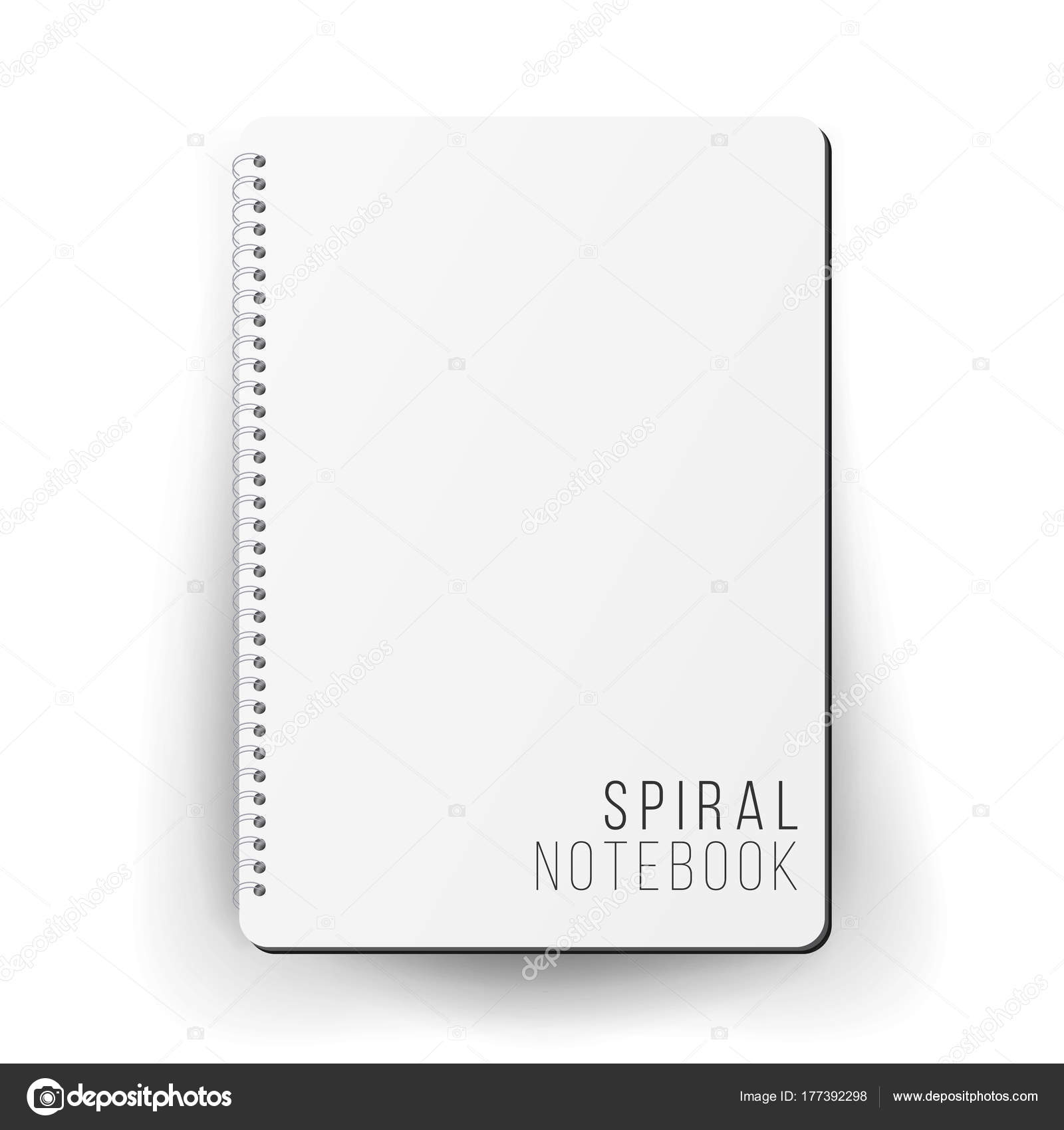 realistic note template blank spiral and paper clean mock up for