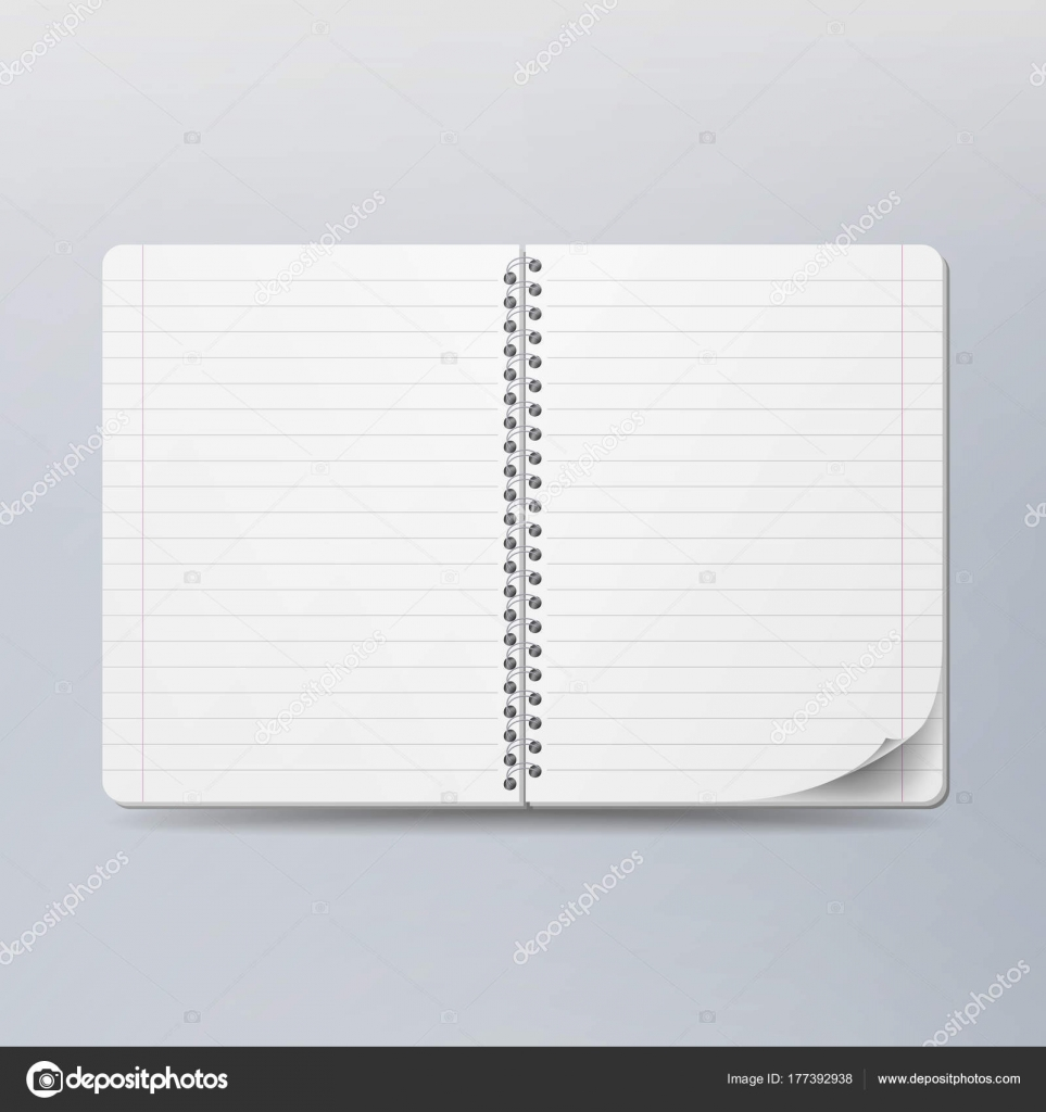 Realistic Note Template Blank. Spiral And Paper. Clean Mock Up For Your  Design.  Notepad Paper Template