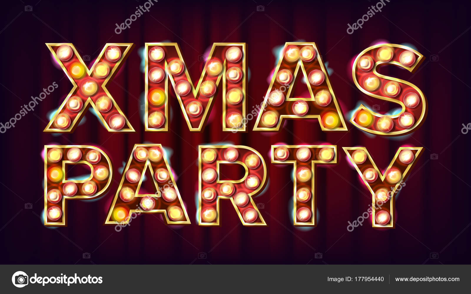 Christmas Retro Party Sign Vector Realistic Retro Shine Lamp Bulb