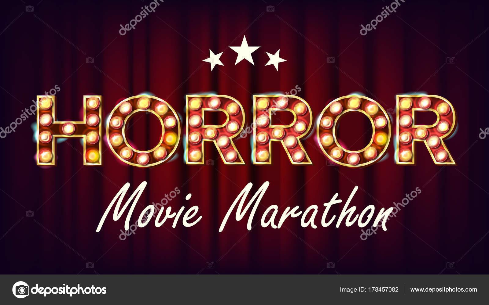 Horror Movie Marathon Hintergrund Vektor. Kino-Vintage-Stil ...