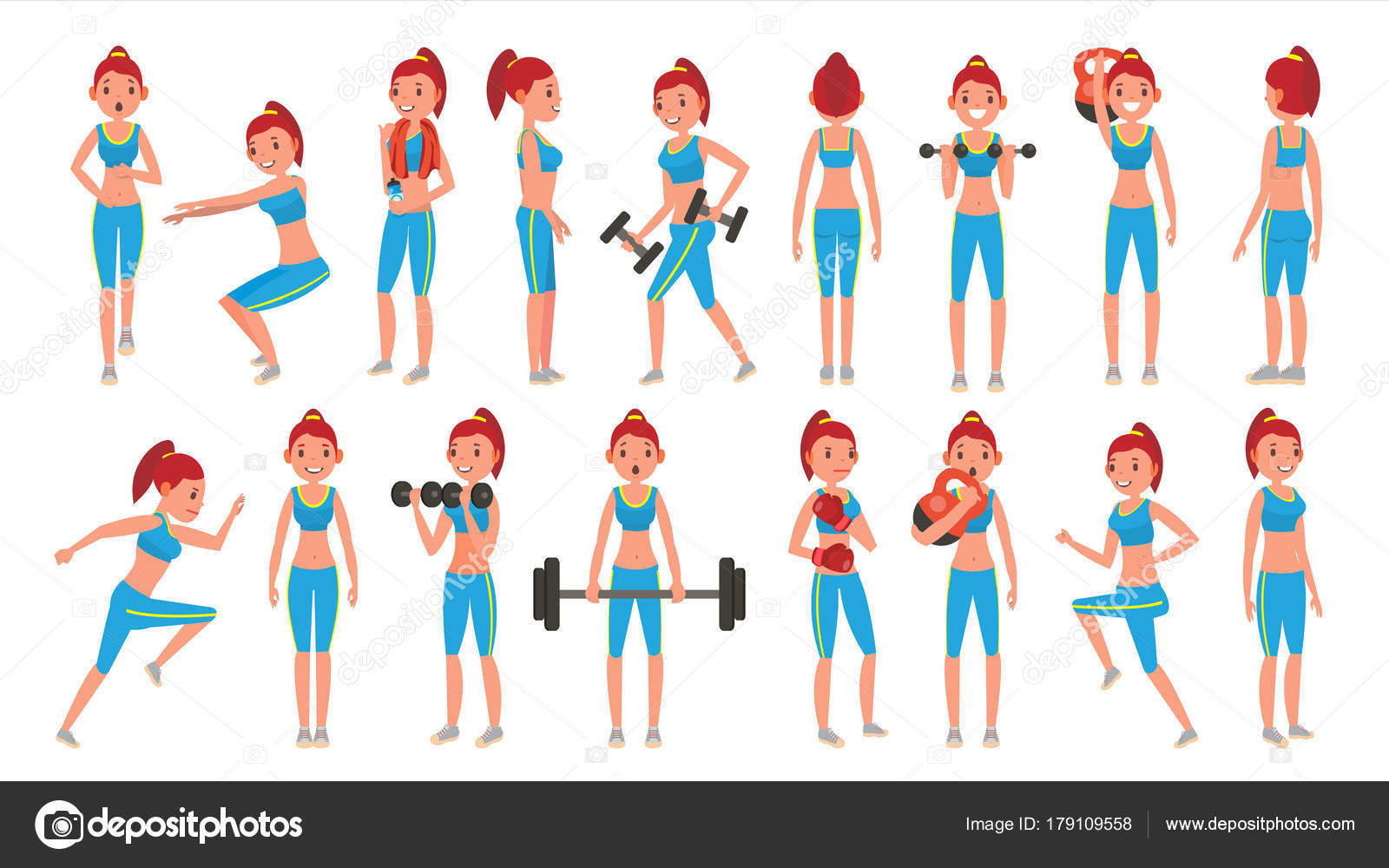 Vector de chica fitness. Diferentes Poses. Ejercicios para personas ...