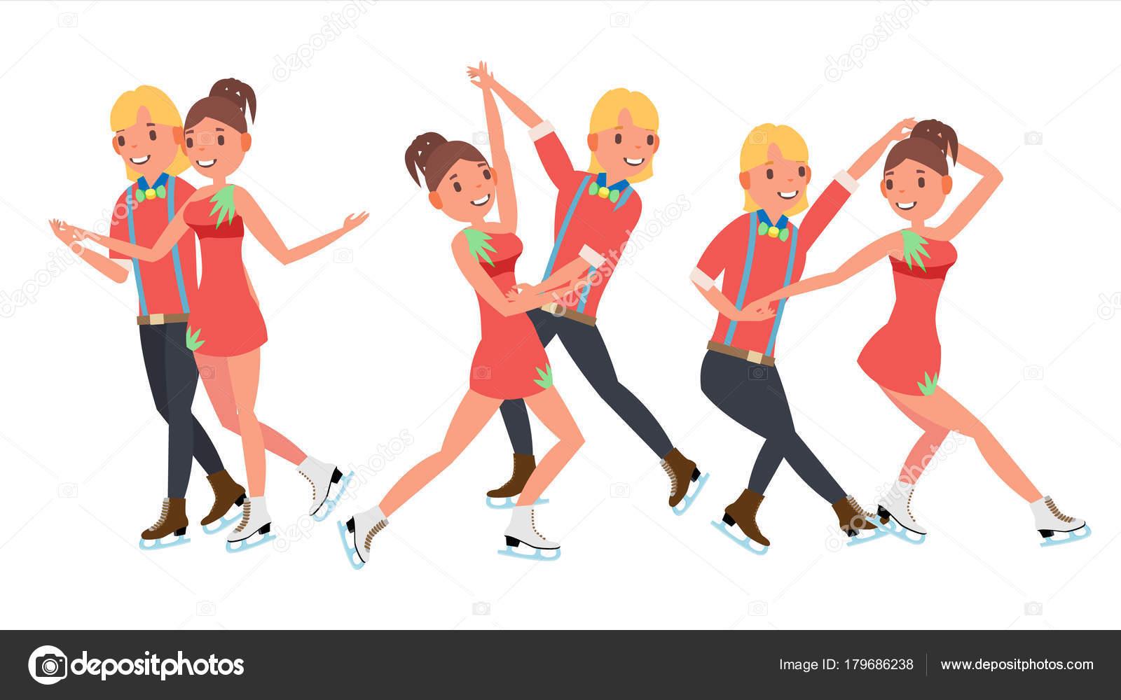 フィギュア スケート カップル少年と少女ベクトルをペアします。スケート
