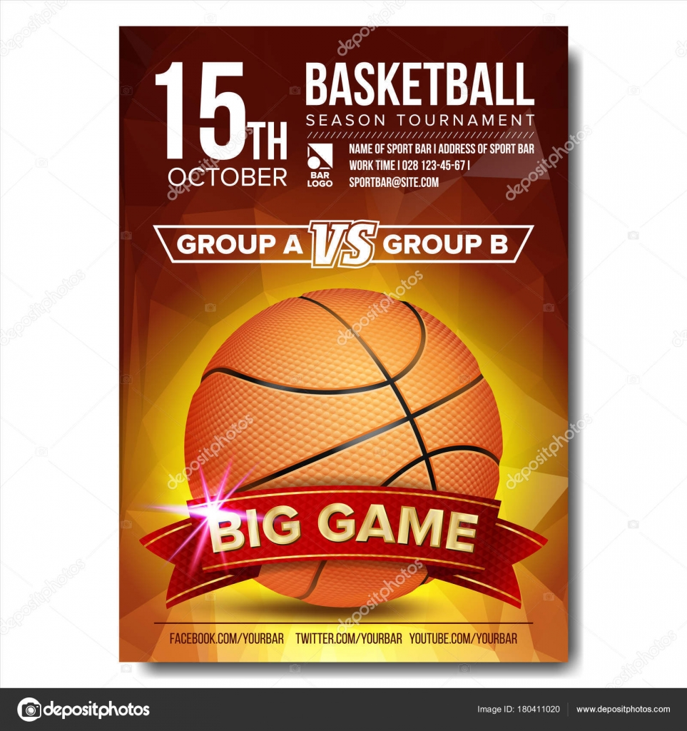 Basketball Poster Vector. Basketball Ball. Design For Sport Bar ...