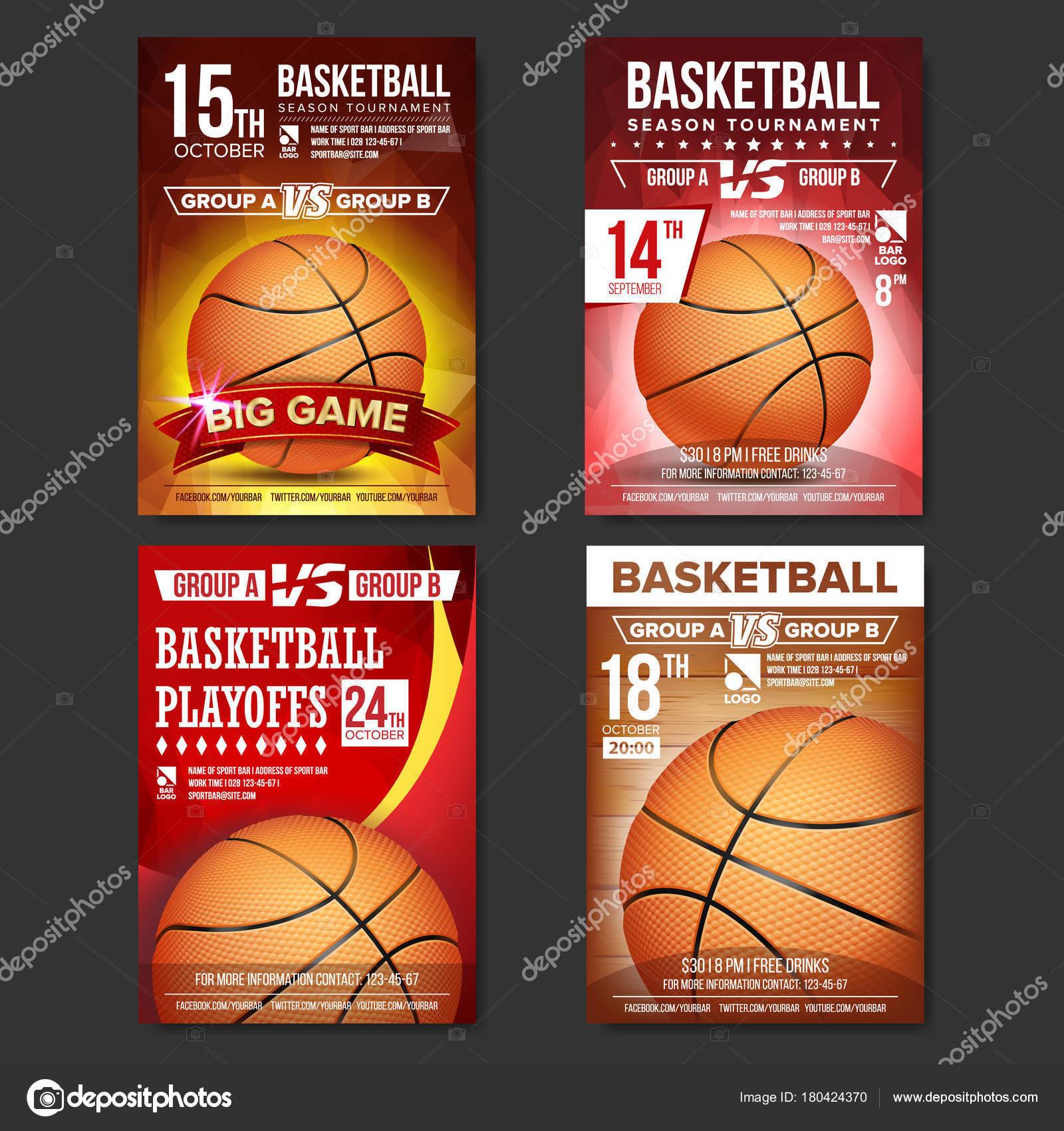 Basketball-Poster Set Vector. Design für Sport Bar Promotion ...