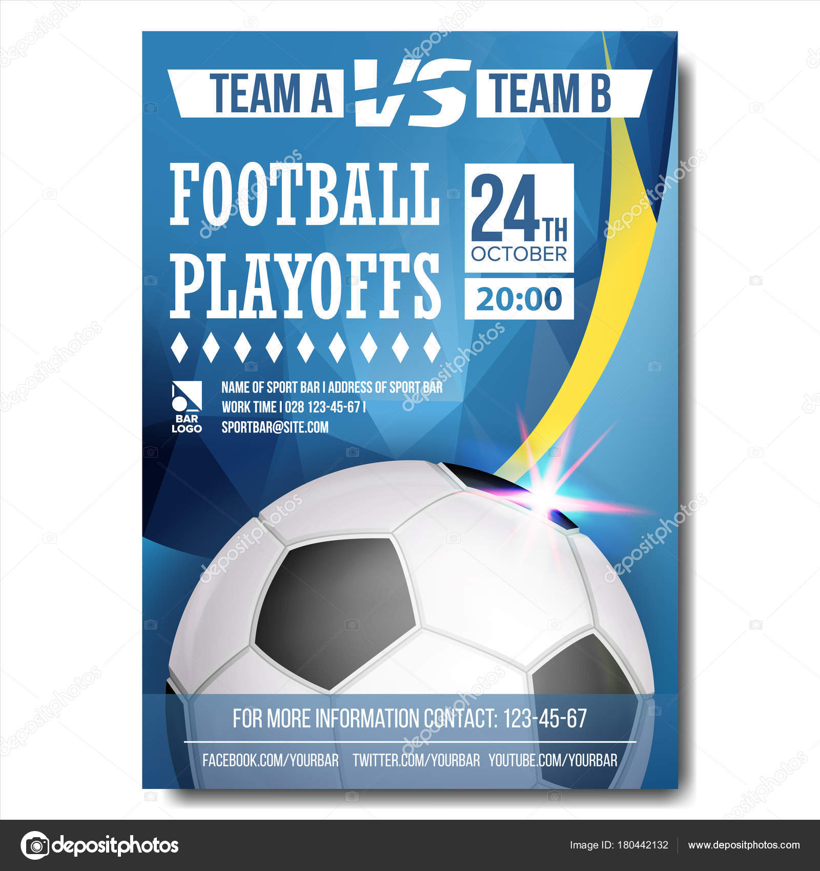 Soccer poster vector design for sport bar promotion football ball sport event announcement banner advertising professional league sport invitation template event illustration vector by pikepicture stopboris Choice Image