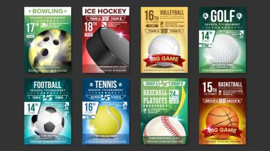 Sport Posters Set Vector. Golf, Baseball, Ice Hockey, Bowling, Basketball, Tennis, Soccer, Football. Vertical Design For Sport Bar Promotion. Tournament Flyer. Club Invitation Illustration