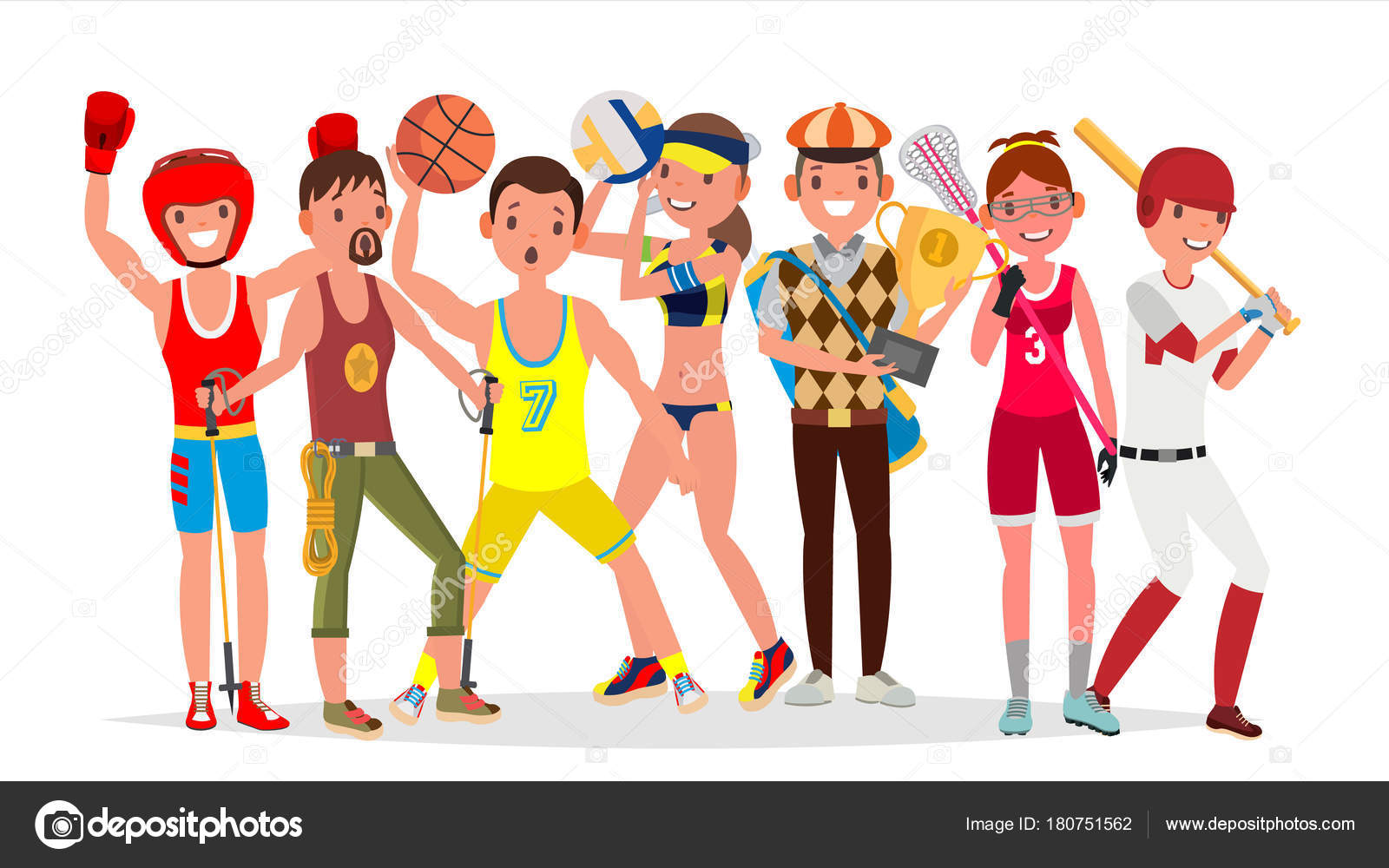 Summer Sports Vector Set Of Players In Boxing Hiking Basketball Volleyball Golf Lacrosse Baseball Isolated On White Background Flat Illustration
