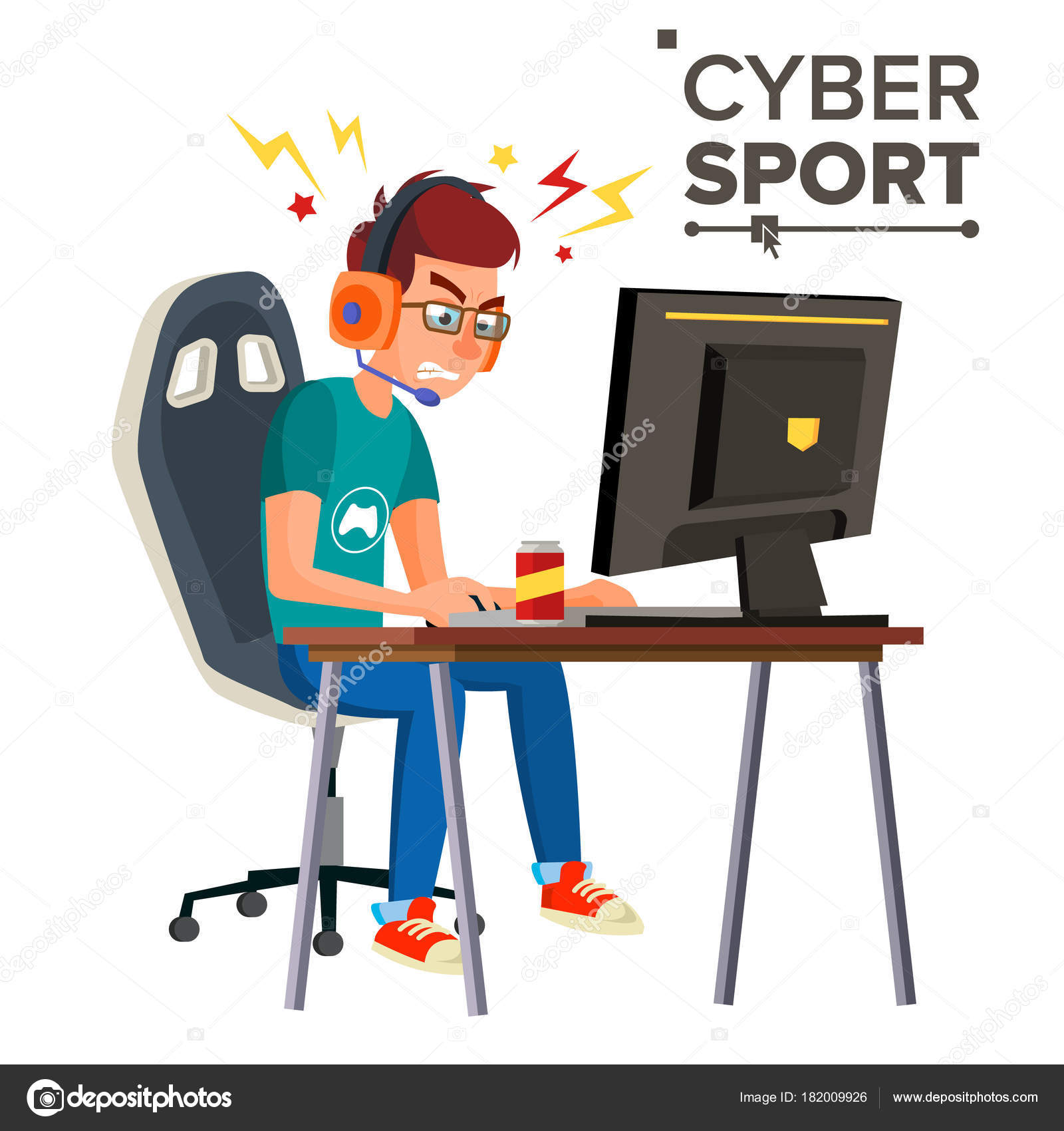 Cyber Sport Player Vector Playing Computer Game Professional Gamer Event Competition Strategist Isolated On White Cartoon Character Illustration
