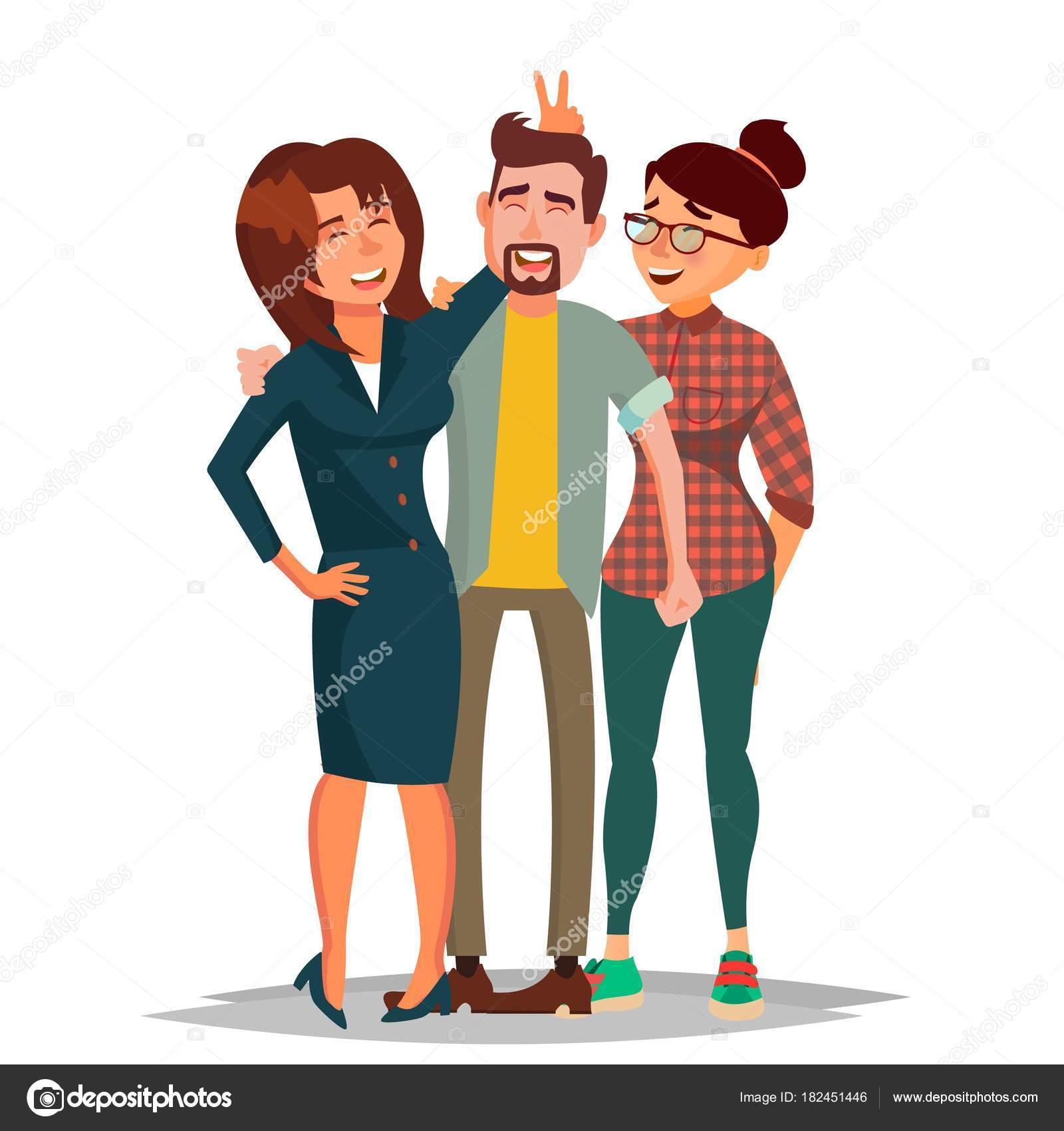 Imágenes Personas Amigos Tomando Foto Vector Riendo El Grupo De