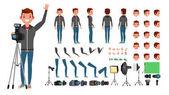 Fotograf Mann Vektor. Fotografieren. Zeichensatz animiert. in voller Länge. Accessoires, Posen, Gesichter, Gesten. isolierte flache Cartoon-Illustration