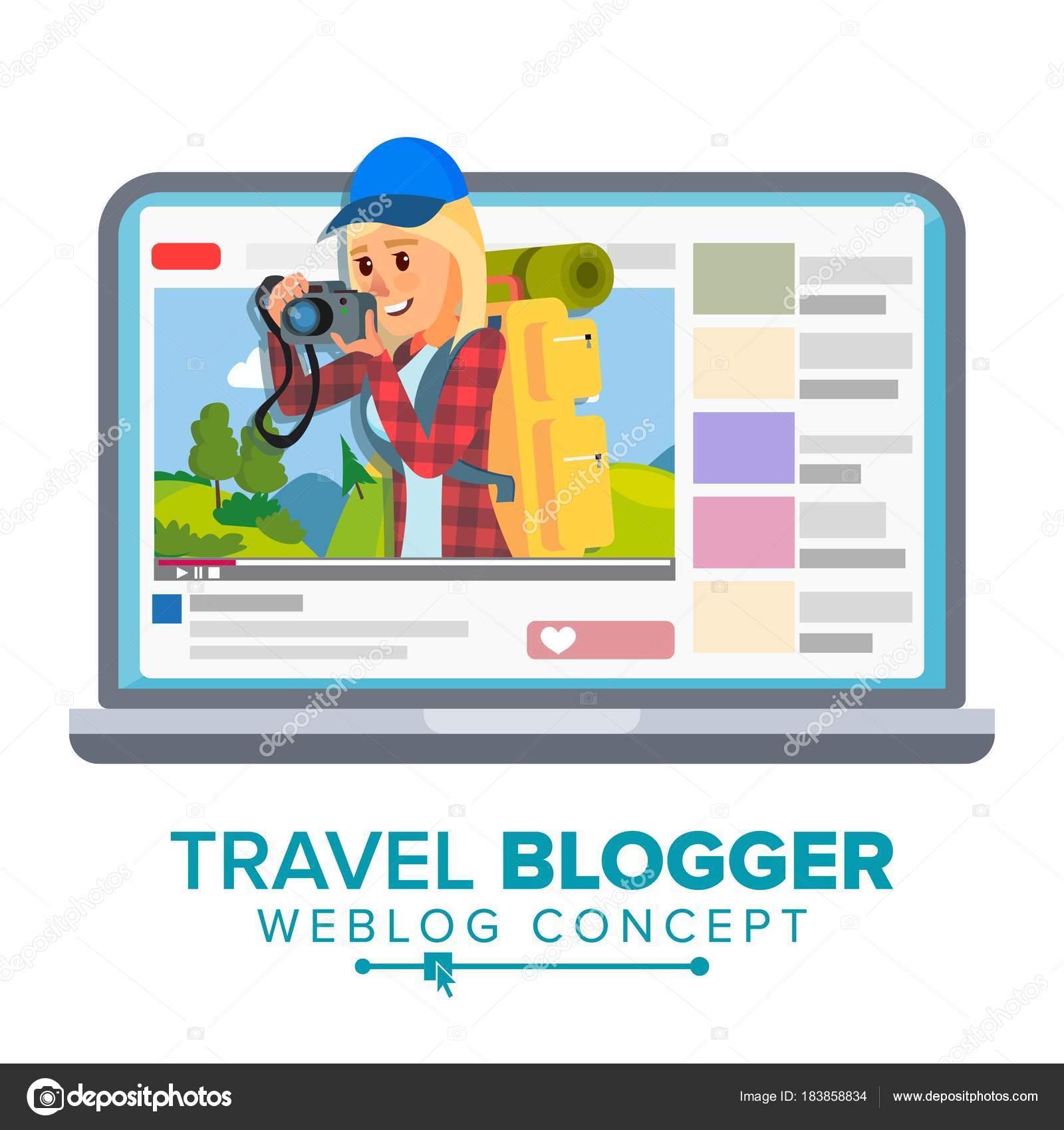 Reise-Weblog-Konzept-Vektor. Persönlicher Blog über Tourismus und ...
